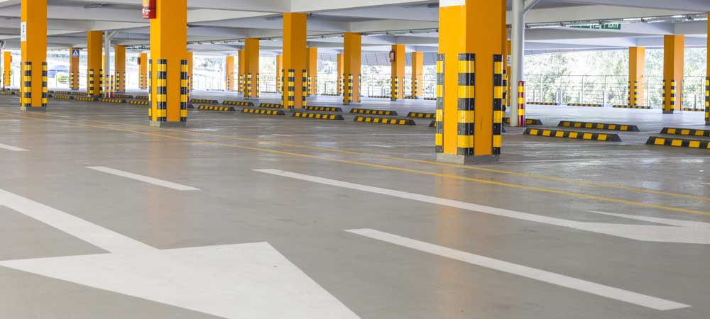 Empty car park with road markings